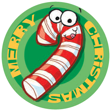 Dr. Stinky's Holiday Sticker Candy Cane