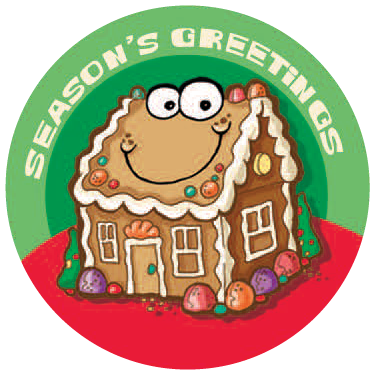 Dr. Stinky's Holiday Sticker Gingerbread house